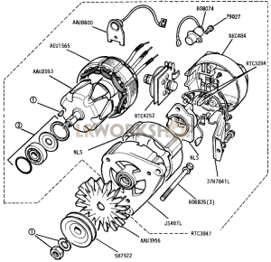 Alternator - 16 ACR 12 Volt 34 Amp Machine Sensed Part Diagram
