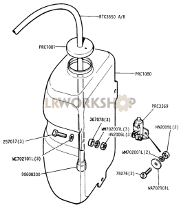 Windscreen Washer Bottle and Tubing Part Diagram