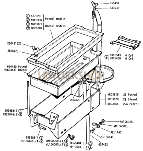 Battery Casing and Air Cleaner Support Part Diagram