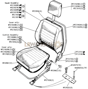 "Front Outer Seats - ""County"" Part Diagram"