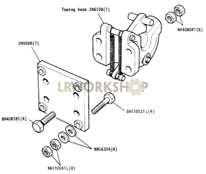 Optional Equipment - Towing Hook and Attachment Plate Part Diagram